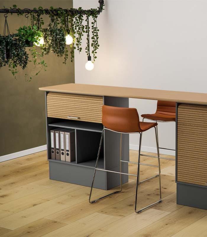 Cube Design - kontormøbler - jalousiskab - opadgående jalousi - Quadro opbevaring