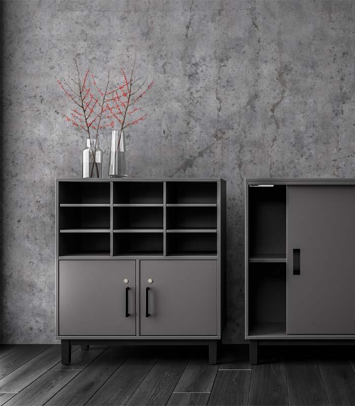 Cube Design - kontormøbler - reol med postsortering - reol på bensokkel - Quadro reol