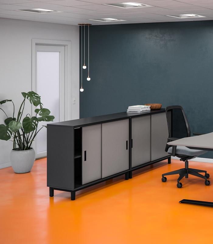 Cube Design - kontormøbler - skydedørsskab - Quadro opbevaring - korpus i laminat