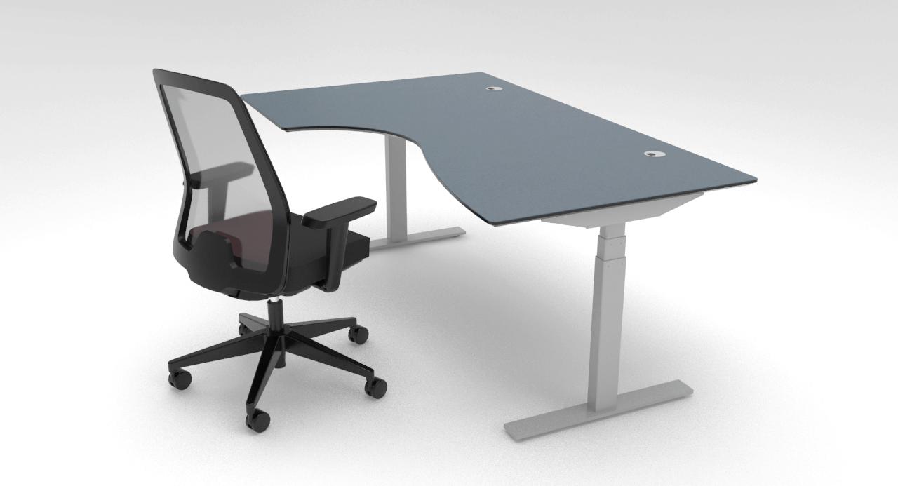 Cube Design - kontormøbler - hæve-sænke skrivebord - dyb mavebue - RAW skrivebord