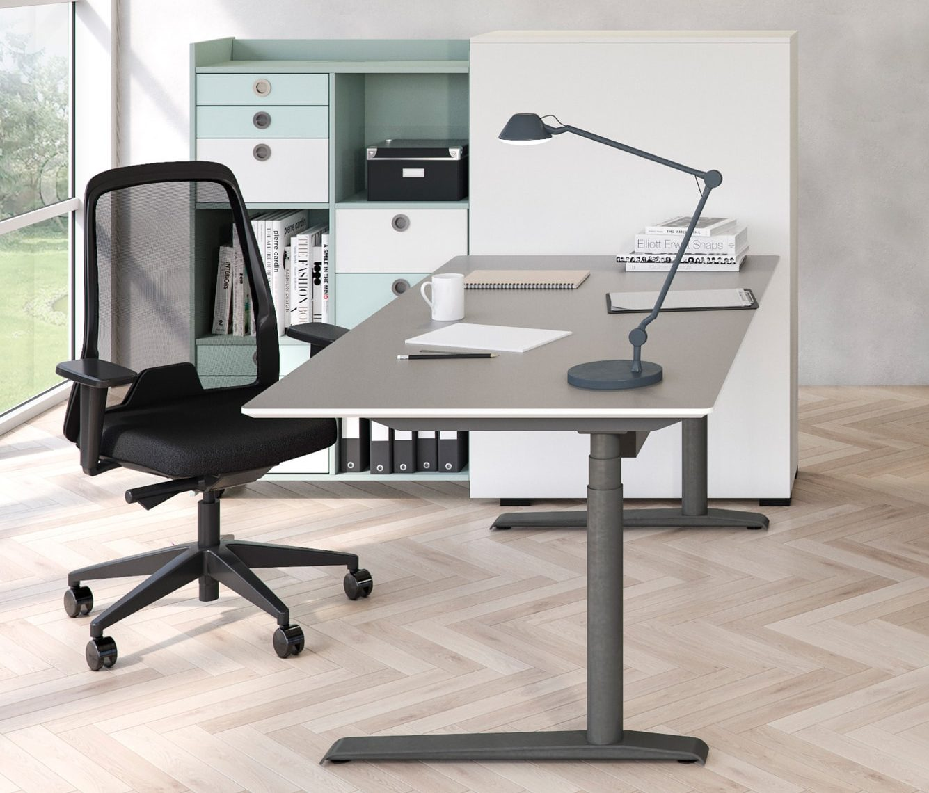 Cube Design - kontormøbler - Quadro skrivebord - rektangulær bordplade