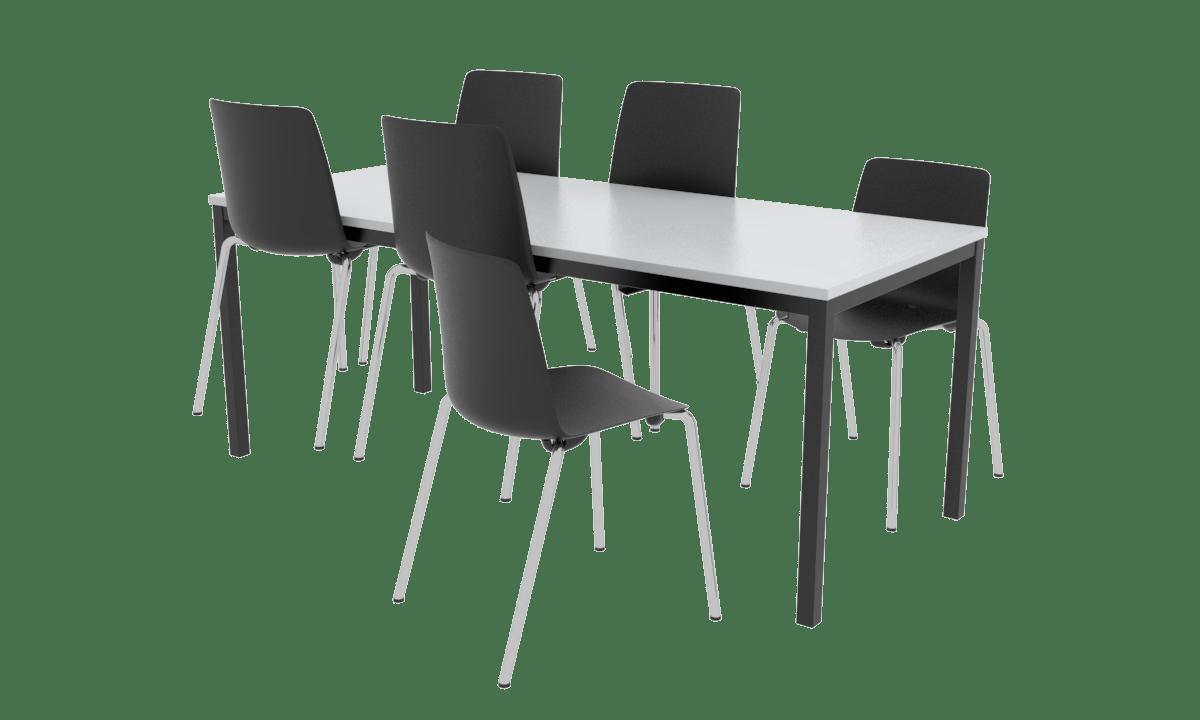 Cube Design - kantinebord med kantinestole - skalstole - stoleophæng