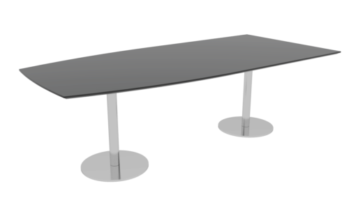 Cube Design - half boat shaped conference table - columns