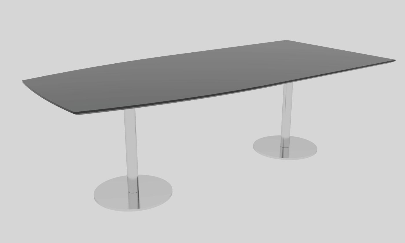 Cube Design - halv bådformet konferencebord - søjler i slebet rustfrit stål