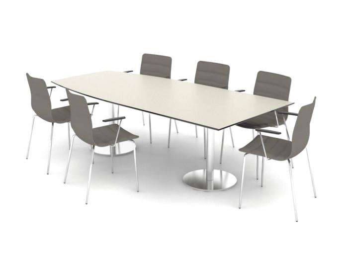 Cube Design - halv bådformet konferencebord - søjler