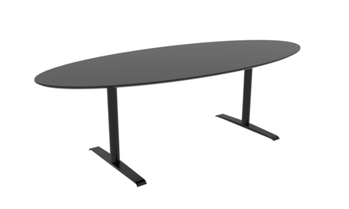 Cube Design - ellipseformet konferencebord - Quadro T-stel