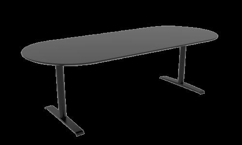 Cube Design - konferencebord med halvrunde ender - Quadro T-stel