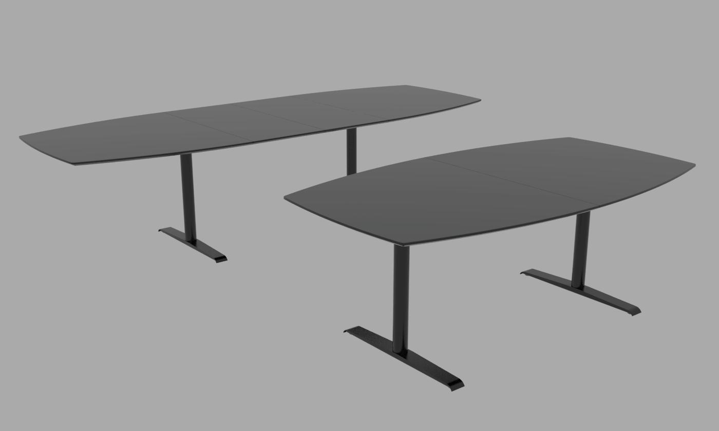 Cube Design - tøndeformet konferencebord med synkronudtræk - Quadro T-stel