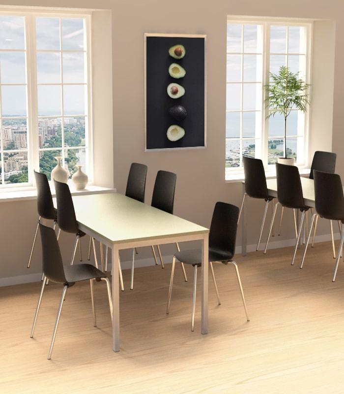 Cube Design - kontormøbler - kantinebord - sensa bord - alu stel - bord til seks personer