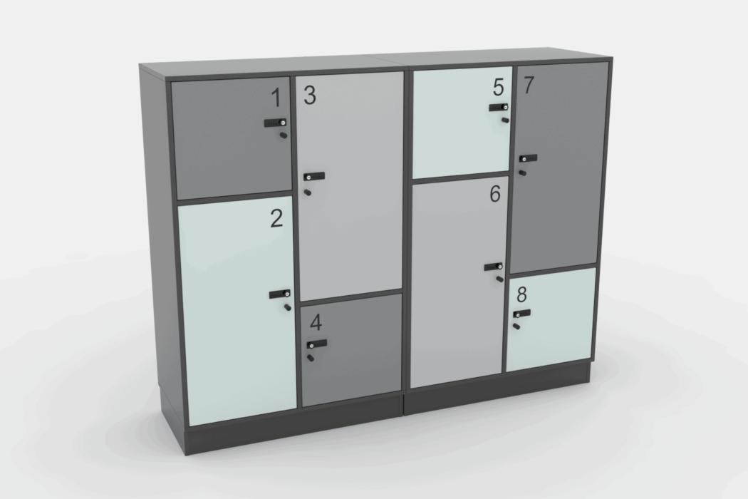 Cube Design - quadro opbevaring - lockers med forskellige størrelse låger - kodelås