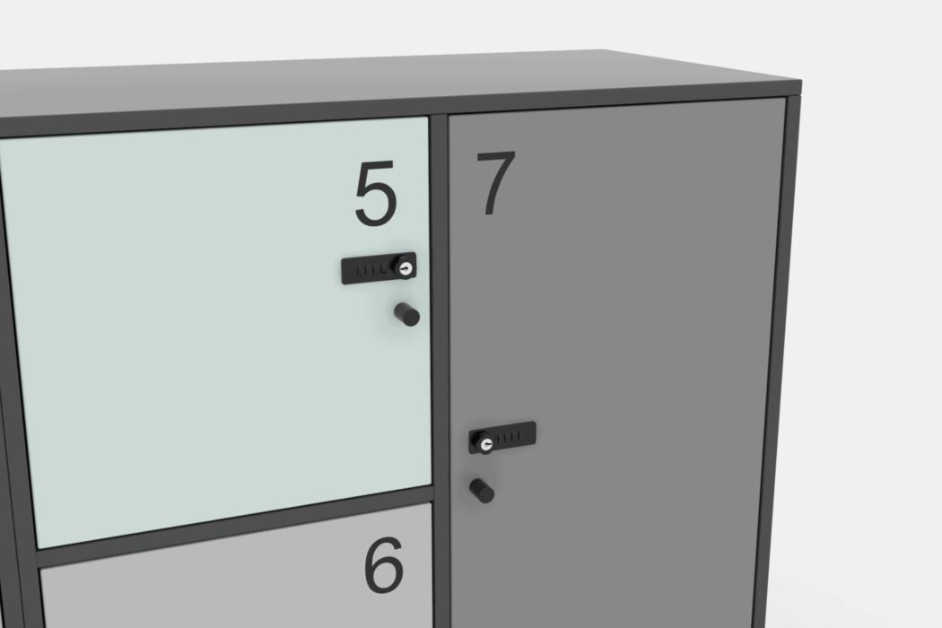 Cube Design - kontormøbler - lockers - personaleskabe - garderobeskabe - kodelås - låger med nummer