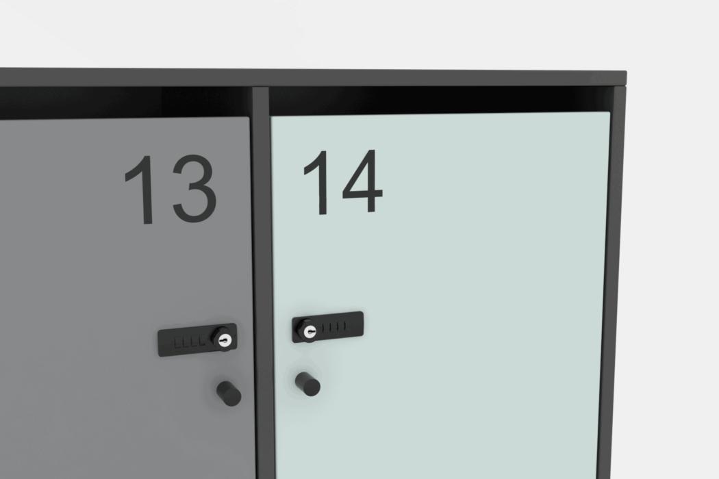 Cube Design - kontormøbler - garderobe - lockers med brevindkast - detalje