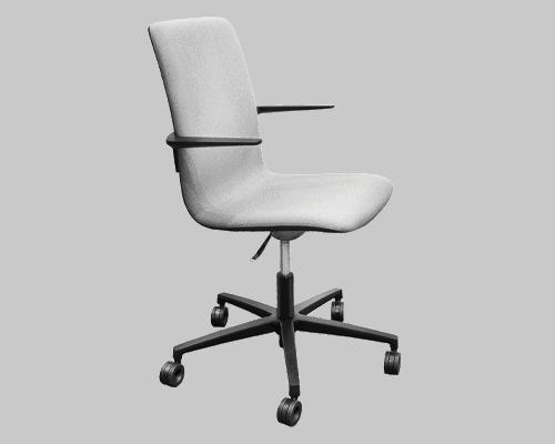 Cube Design - kontormøbler - S20 konferencestol med høj ryg - polstret i lys grå Cura stof - sort stel og armlæn