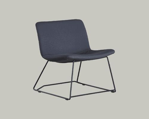 Cube Design - kontormøbler - S20 loungestol - sort stel - polstret på sæde og ryg
