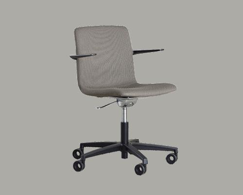 Cube Design - kontormøbler - S20 konferencestol med lav ryg - polstret med Cura, Gabriel - stel og armlæn i sort