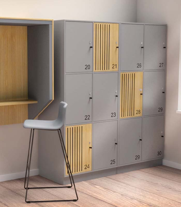 Cube Design - kontormøbler - lamellåge - indfræste lameller i sort MDF