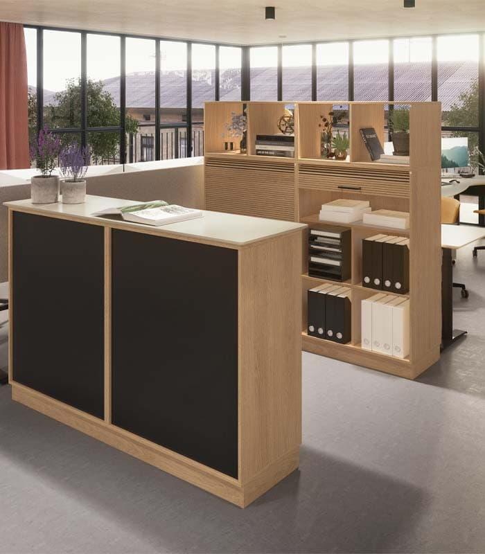 Cube Design - kontormøbler - rumdeler - reol uden bagbeklædning - kig igennem reol