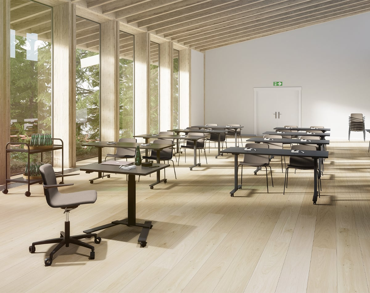 Cube Design | kontormøbler | konferencerum |  skrivebord - batteri - Linak - RAW 1-søjle - RAW 1-column - Flap foldebord - S20 stole - konferencestole