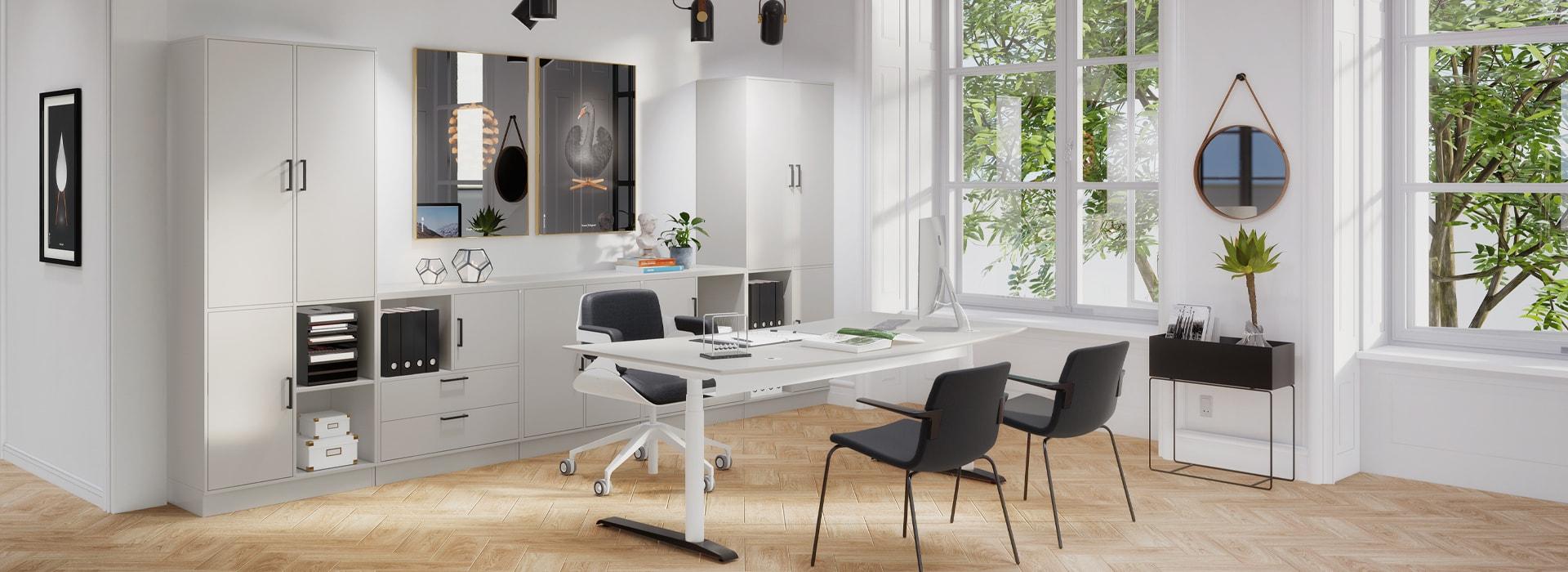 Cube Design - kontormøbler- Quadro opbevaring og skrivebord