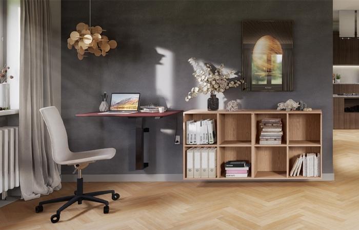 Cube Design -kontormøbler- væghængt skrivebord med hævesænke funktion - Linak søjle - 5 års garanti
